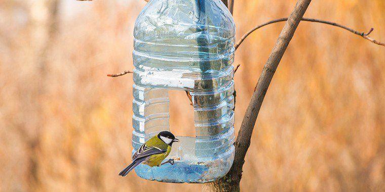 fabriquer une mangeoire pour oiseaux du jardin avec une simple bouteille